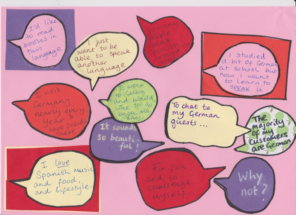 Speech bubbles with reasons why people want to learn Spanish or German